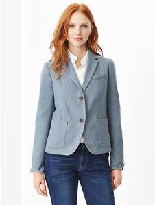 Classic basketweave wool blazer - light blue