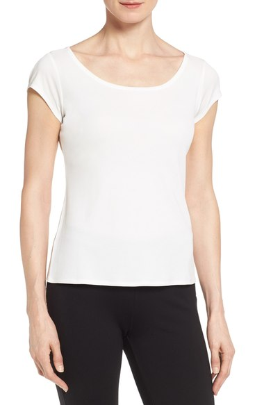 eileen fisher cap sleeve silk tee